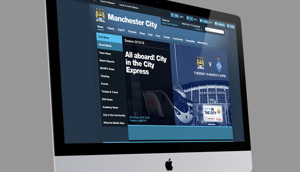 iMac with the Manchester City website on it
