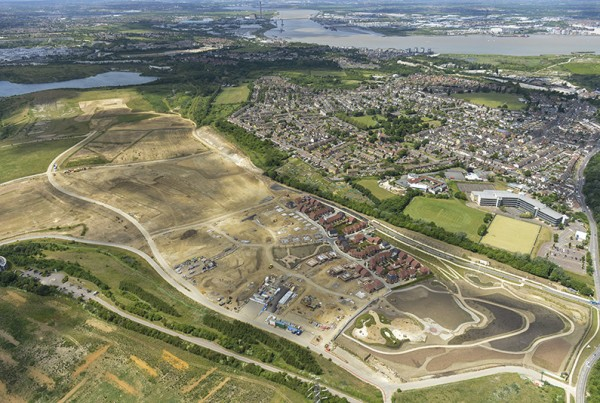 Drone aerial photograph of Ebbsfleet Garden City Development