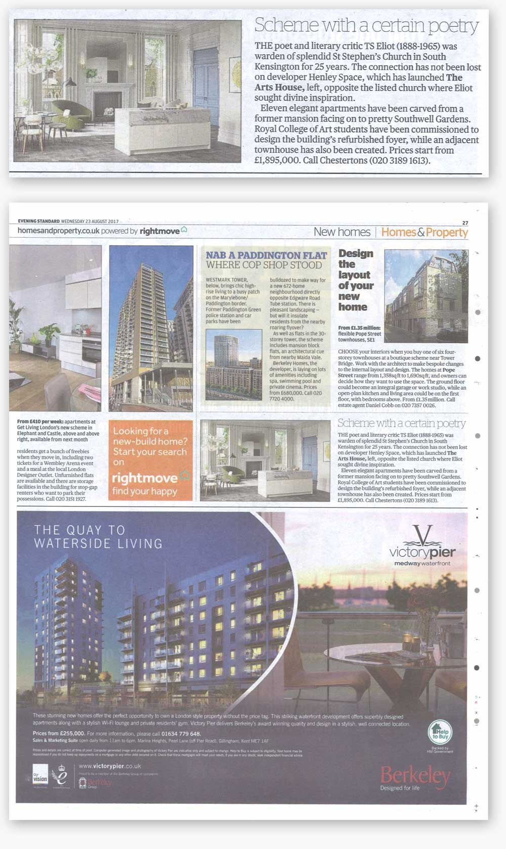 An image of the article featuring the Arts House luxury development in the 24th August Edition of the Evening Standard