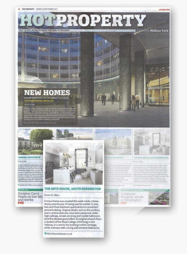 An image of the article featuring the Arts House show home launch - A Henley Space renovation luxury development in the Hot Property section of City AM