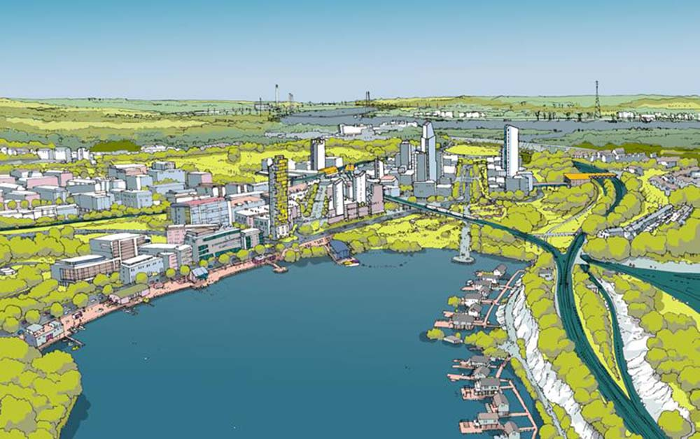 A colour image of the future vision for Ebbsfleet - A Henley Camland Ebsfleet development project