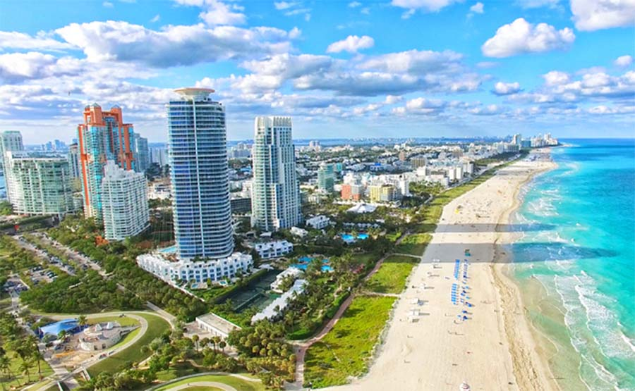 A colour image of the Miami coastline - Life House high end hostel investment of Henley USA