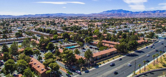 An aerial photo of the Evergreen Apartments a Henley USA Tower 16 joint venture in Spring Valley Las Vegas