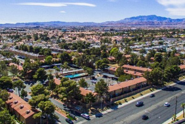 An aerial image of the Evergreen Apartment complex , Las Vegas, Nevada - A Multi-family residential investment of Henley Investments